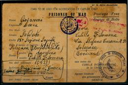 PRISONIER OF WAR NOTIFICA DI CATTURA SOLD.17°SEZ.SANITA' X SOLOPACA BENEVENTO 15-2-1941 - War 1939-45