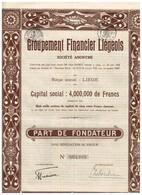 Titre Ancien - Groupement Financier Liégeois - Société Anonyme -Titre De 1928 - Banque & Assurance