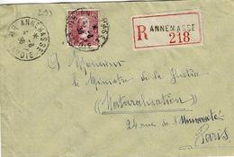 TP N ° 293 Seul Sur Enveloppe En Recommandé De Annemasse Pour Paris - Postmark Collection (Covers)