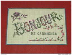 CARNIERES -  Bonjour De Carnières  (carte Perlée)   -  1906 - Morlanwelz