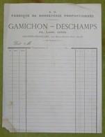 GAMICHON-DESCHAMPS - Fabrique De Bonneterie Proportionnée , Grandes-Chapelles - Facture Vierge - 1800 – 1899