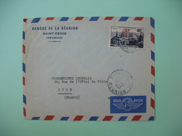 Lettre Réunion CFA  1953 N° 302A Pic Du Midi De La Banque De Saint Denis Vers Le Contentieux Lyonnais De Lyon France - Cartas