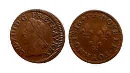 LOUIS XIII Double Tournois 1643 A (Corbeil) Type De Warin FAUTEE (Décalée) - 987-1789 Monnaies Royales
