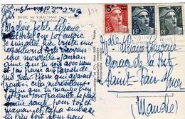 TP N ° 713, 719B Et 827 Sur Carte Postale De Troyes Pour St Pair Sur Mer - Marcophilie (Lettres)
