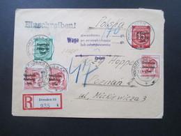 SBZ 1949 MiF 2er Ausgaben Einschreiben Auslandsbrief Dresden 16 - Poznan / Posen. Nachgebühr! Viele Stempel / Vermerke!! - Zona Soviética