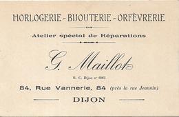 Petite Carte Publicitaire.Horlogerie Bijouterie Maillot DIJON Rue Vannerie - Dijon