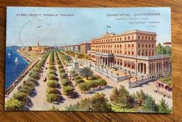 GRAND HOTEL CIVITAVECCHIA  STABILIMENTO TERMALE TRAIANO CART. PUBBLICITARIA  CON AMBULANTE  ROMA MILANO 151 (D) 11/3/23 - Hotels & Restaurants