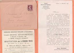 INVITATION FEDERATION DEMOCRATE POPULAIRE SEINE & MARNE GRANDE JOURNEE DEPARTEMENTALE BRIE COMTE ROBERT 13 / 12 /1936 - Zonder Classificatie