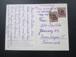 SBZ 1948 PK Opfer Des Faschismus Hilfsaktion Rettet Die Kinder. Nr. 187 MeF Auslandskarte Nach Kopenhagen Dänemark - Zona Soviética