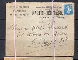 Enveloppe Semeuse Epicerie Parisienne Martin Bertrand Noirmoutier 85 Vendee - Noirmoutier