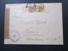 SBZ 1948 Nr.191 MeF Senkrechtes Paar Vom Oberrand!! Walze. Auslandsbrief Nach Österreich Mit Österr. Zensur! - Sowjetische Zone (SBZ)