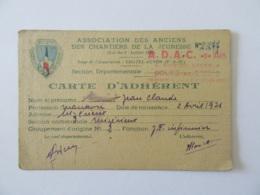 Carte D'adhérent à L'ADAC (Association Des Anciens Chantiers De La Jeunesse) - 1943 - Historische Documenten