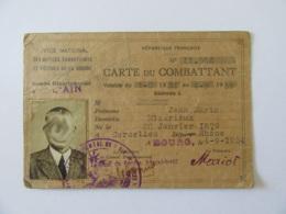 Carte Du Combattant Délivrée Dans L'Ain - Valable Du 1er Janvier 1934 Au 4 Septembre 1939 - Documents