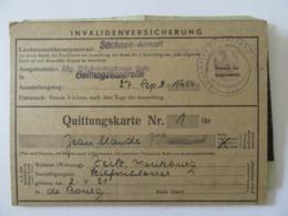Empire Allemand - Guerre 39-45 - Invalidenversicherung (Carte D'invalidité) Avec Coupons - 27 Septembre 1944 - Historical Documents