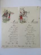Lot De 2 Menus Anciens Pour Repas à L'Hôtel Millet Le 23 Novembre 1919 - Illustrations De Soldats Et Cavaliers - Menus