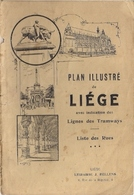 LIÈGE - TRÈS ANCIEN PLAN ILLUSTRÉ Avec RÉPERTOIRE DES RUES (RESTAURABLE BIEN QUE TRÈS USÉ) - Maps
