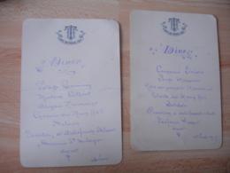 Lot 2 Menus  1909 Hotel Des Thermes Vichy - Menus
