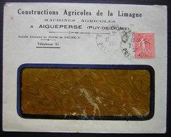 Aigueperse (Puy De Dôme) 1922 Constructions Agricoles De La Limagne, Machines Agricoles - Postmark Collection (Covers)