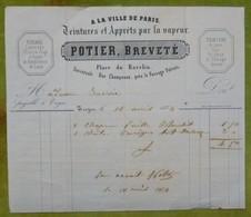 A LA VILLE DE PARIS - Teintures Et Apprêts Par La Vapeur - POTIER, Breveté - Place Du Ravelin - TROYES - France