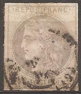 """FR41U - 1870/1 France, N. 41, """"Emission De Bordeaux"""", 4c. Gris, Timbre Oblitéré - 1870 Bordeaux Printing"""