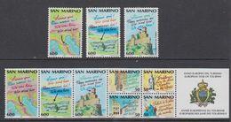 San Marino 1990 European Tourism Year 3 Normal Values + 7v From Booklet  ** Mnh (43028) - Boekjes