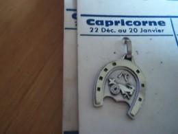 Pendentif En Métal Argenté Zodiaque ' Signe Capricorne ' Forme Fer A Cheval - Pendants