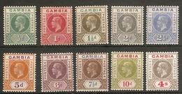 GAMBIA 1921 - 1922 SET SG 108/117 WATERMARK MULTIPLE SCRIPT CA MOUNTED MINT Cat £110 - Gambia (...-1964)