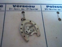 Pendentif En Métal Argenté Zodiaque ' Signeverseau ' Forme Fer A Cheval - Pendants