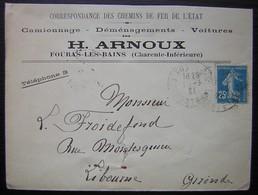 Fouras Les Bains (Charente Inférieure) 1921 H. Arnoux Camionnage Déménagements Voitures Correspondance Chemins De Fer - 1921-1960: Periodo Moderno