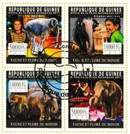 Bloc De 4 Timbres-poste Oblitérés - Faune Éléphant D'Asie Cirque - N° 8314-8317 (Michel) - République De Guinée 2011 - Guinea (1958-...)