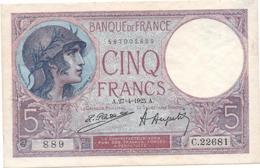 France- 5 Frs  Violet  Du  27 04 1925 ( Caissier Pal) C.22681 - Cat Fayette N° 3 -  Sup/spl - 1871-1952 Antiguos Francos Circulantes En El XX Siglo