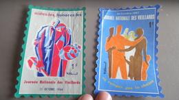 Grande Maxi Vignette Journée Nationale Des Vieillards De 1964 Et 1967 - Commemorative Labels