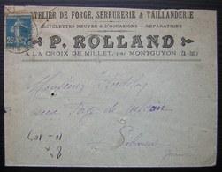 La Croix De Millet Par Montguyon P. Rolland  Forge Serrurerie Taillanderie Bicyclettes  (Charente Inférieure) 1923 - Marcophilie (Lettres)