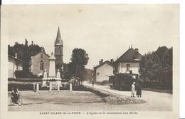 SAINT CLAIR  DE LA TOUR   (  ISÈRE  )    L 'EGLISE ET LE MONUMENT AUX MORTS . ( Tram ) - France