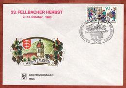 Illustrierter Umschlag Fellbacher Herbst, Weinbau, SoSt Fellbach 1980 (74736) - [7] Federal Republic