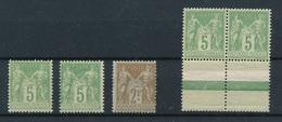 CP-463: FRANCE:: Lot Avec N°102**(2)-105*(*lourde)-106**(gomme 2ème Choix) - 1898-1900 Sage (Type III)