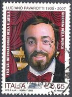 Italia, 2009 Luciano Pavarotti, 0.65€ # Sassone 3136 - Michel 3345 - Scott 2974  USATO - 6. 1946-.. Repubblica