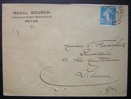 Royan 1922 Raoul Bouron Architecte Entrepreneur, Pour Libourne - Postmark Collection (Covers)