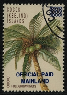 """Kokos-Inseln 1991 - Dienst - Mi-Nr. 1 - """"gest / Used"""" - Palme - Cocoseilanden"""