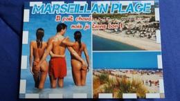 CPM PIN UP FEMME FESSES A MOITIES NUES MARSEILLAN PLAGE IL FAIT CHAUD MAIS JE TIENS BON PLAGE ED AS - Pin-Ups