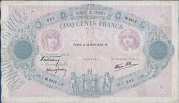 France- 500 Frs  Bleu Et Rose Du 14 04 1938 ( M.2812 ) Caissier Général ) Cat Fayette N° 31  Circulé - 1871-1952 Antichi Franchi Circolanti Nel XX Secolo