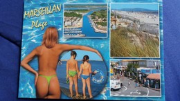 CPM PIN UP FEMME FESSES A MOITIES NUES MARSEILLAN PLAGE MULTI VUES ENFANTS  ED AS - Pin-Ups