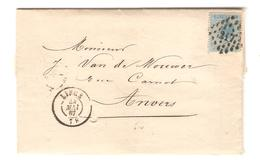 3065/ TP 18 S/LAC Armes à Feu/Articles De Chasse C.LOS 217 + C.Liège 24/5/1867 V.Anvers C.d'arrivées - Storia Postale