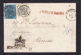 1855 - Brief Ab Ancona Nach Rom - Desinfektions-Stempel - Etats Pontificaux