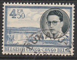"""Belgian Congo 1955 Definitive Issues. King Baud """"BELGISCH CONGO - CONGO BELGE""""  4.50 Fr Blue/black SW 346 O Used - Central African Republic"""