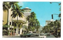 Oahu Hawaii Waikiki Kalakaua Avenue R Wenkam A Salbosa Photo Vintage Postca - Oahu