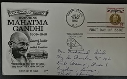 USA 1961 Mahatma Gandhi FDC , Airmail, Leader Of India, Birth Anniversary Rare - Mahatma Gandhi