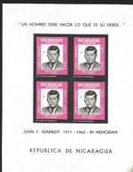 V) 1965 NICARAGUA, IN MEMORIAM JOHN F KENNEDY, SOUVENIR SHEET, IMPERFORATE BLOCK OF 4, MNH - Nicaragua