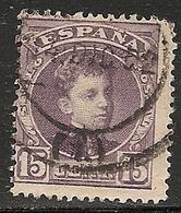 1901-1905-ED. 245 ALFONSO XIII TIPO CADETE 15 CTS CASTAÑO LILA-USADO FECHADOR MADRID 14DIC02- - 1889-1931 Royaume: Alphonse XIII