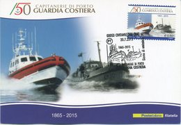 ITALIA - FDC MAXIMUM CARD 2015 - GUARDIA COSTIERA - ANNULLO SPECIALE CIVITAVECCHIA - Maximum Cards